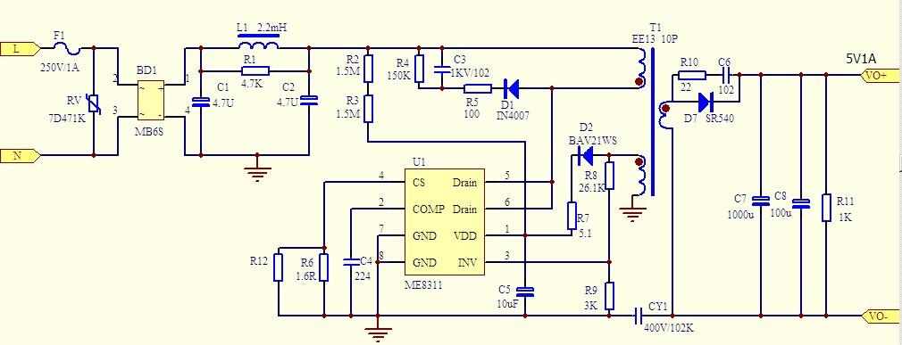 求220v转5v,最大电流在1a左右的开关电源电路图,急需