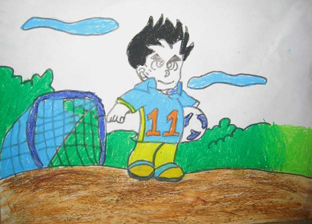 一幅有关足球的儿童画怎么画