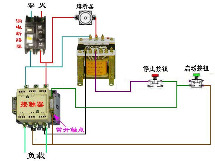 求按钮控制三相电机启动和停止的接线图和需要的元件