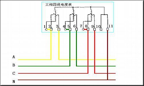 三相四线电度表接线图怎么接