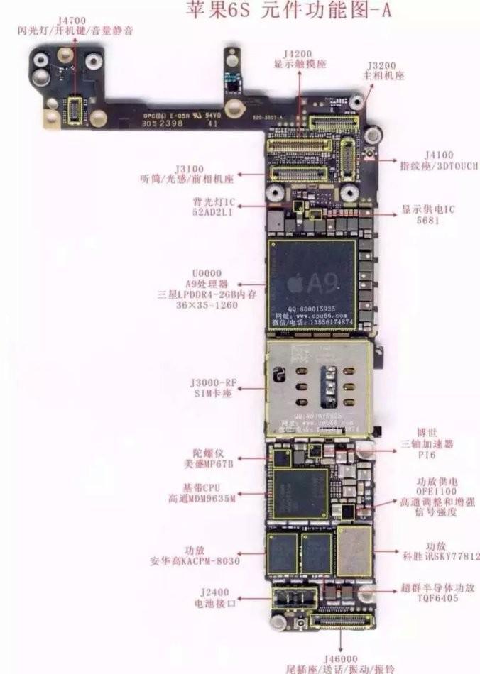 以下是苹果维修主板上元件图,供参考