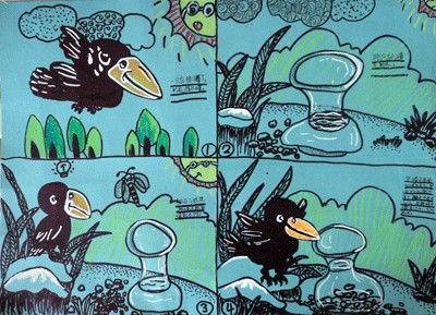 乌鸦喝水连环画六张图片