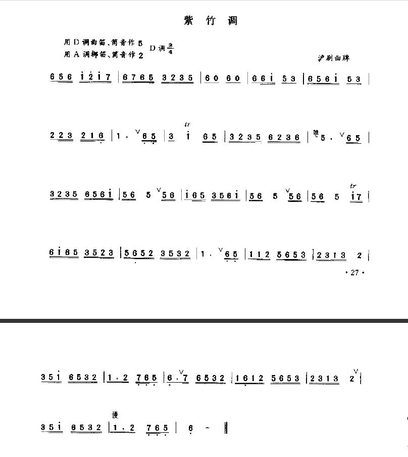 请高手帮忙把五线翻译成简谱 (紫竹调) 这个唢呐吹奏可以吗?图片