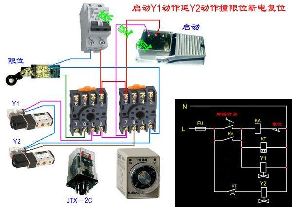 继电器 脚踏开关 一个行程开关 两个电磁阀 一个时间继电器 踩脚