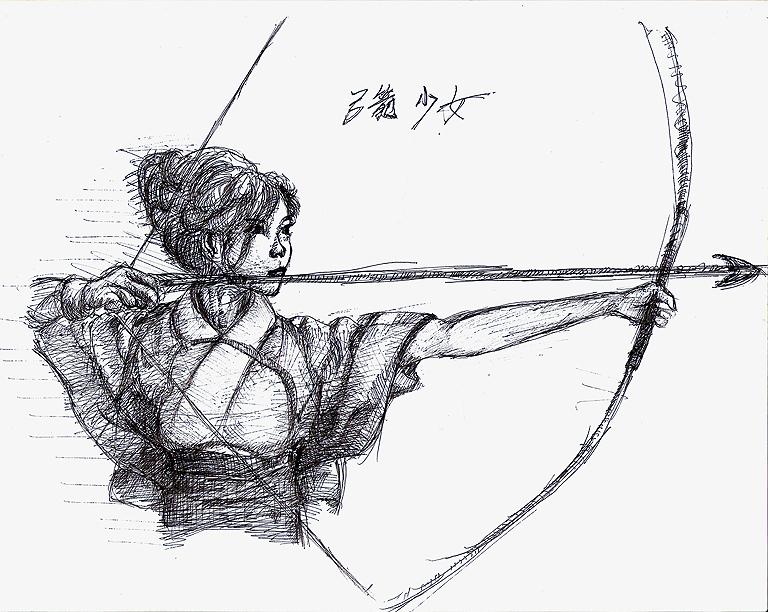 红警3起义弓箭少女手绘图