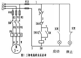求一个380的开关,一个交流接触器,一个电动机,三个灯