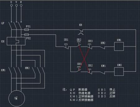 画出利用继电器控制电动机正反转的电路图(简单的)