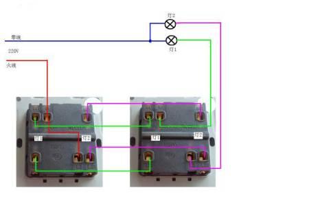 請問國頓雙開雙控開關背后的六個接線孔,哪兩個是火線