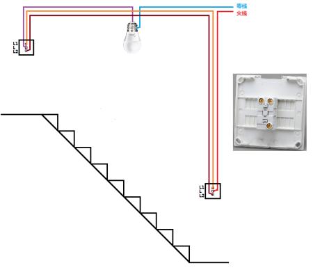 两个开关控制一盏灯 的电路图怎么画 比如楼梯上的. 请解释一下 谢谢