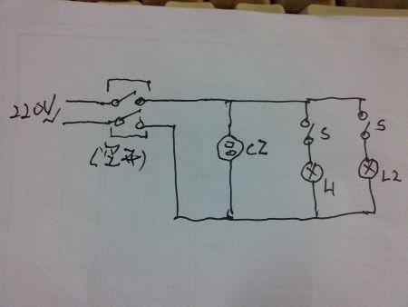 家用照明电路图条件照明灯两个 插座一个图