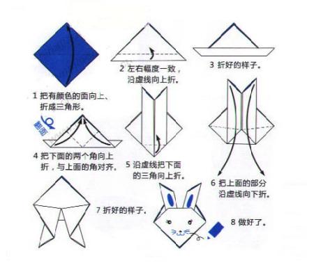 兔子折纸步骤:   1,把有颜色的面向上折成三角形.