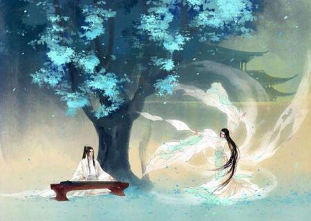 一张古风动漫图,一人弹琴一人持剑的,背景貌似是宫殿