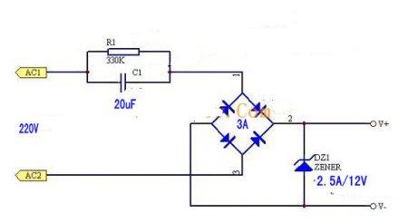 220v交流转12v直流电路思路是用电容,泄放电阻,桥式整流,限流电阻,12v