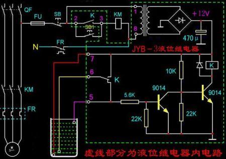 继电器怎么控制液位-求电路图