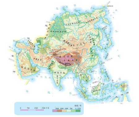 亚洲地形图手绘_亚洲地形图