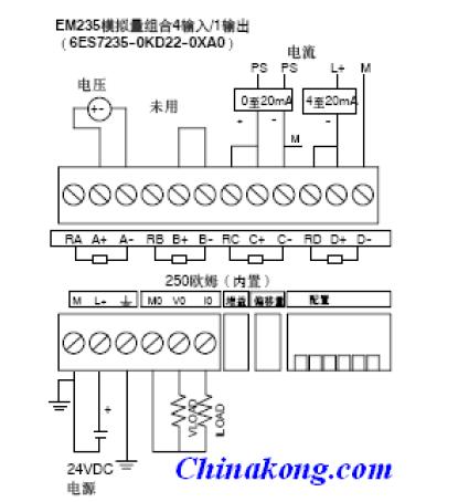 急求西门子s7-200系列模拟量模块em235cn的接线图,就像下面这个,但是
