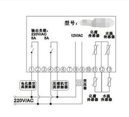 冷库控制器接线如图: 1,1-2和4-5接线端子接内部继电器输出触点.
