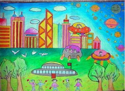 中少年儿童科学幻想绘画怎么画图片