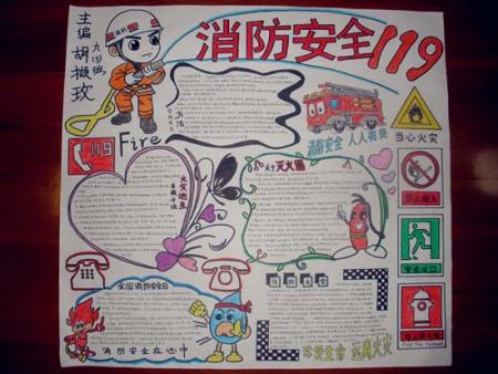 关于消防安全的手抄报图片(4k纸)五年级图片