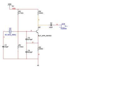请大侠帮我做个晶振方波震荡电路,然后通过整形电路输出.震荡电路频.