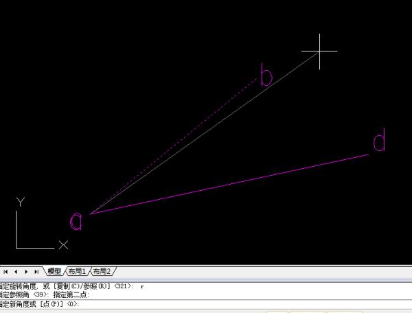 CAD中把一个水平斜线旋转到与一根资料城盘通网cad图形图片