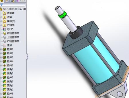 任意尺寸双作用单活塞杆液压缸cad零件图和装配图solidworks里的模型.图片