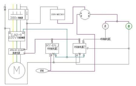 带手动自动,浮球,中间继电器,接触器的二次接线图