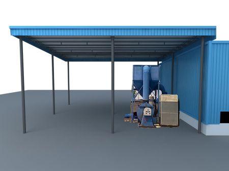 我现在要搭一个跨度12米的彩钢瓦棚,单坡的,需要用什么材料做大梁图片