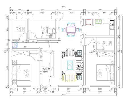 农村两屋两间设计平面图长11米宽8米第一层要三房间一