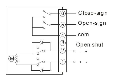 直流dc24v dc12v电动蝶阀接线图   交换正负正开关电动蝶阀同时无源
