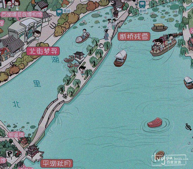 杭州旅游手绘地图十一卷起旅游热潮