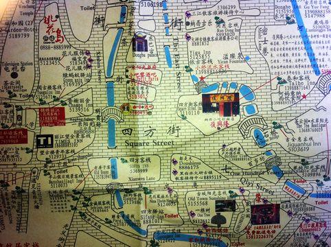 丽江古城手绘游览图