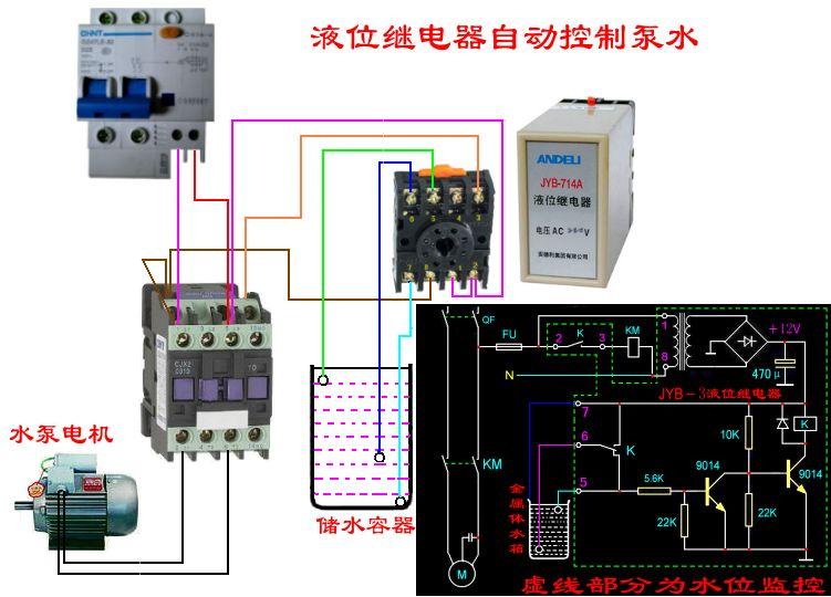 设计电动机自动抽水电路图