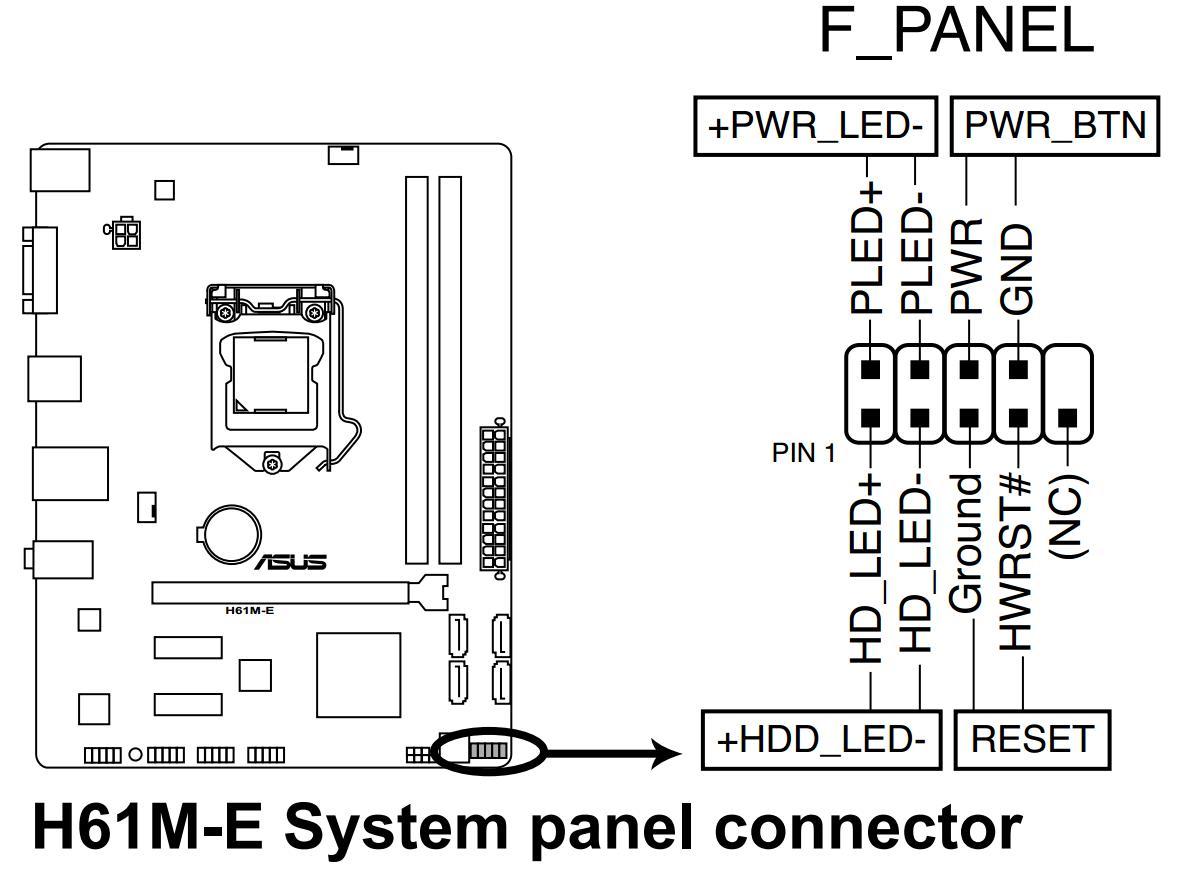 华硕h61m-e主板panel接线