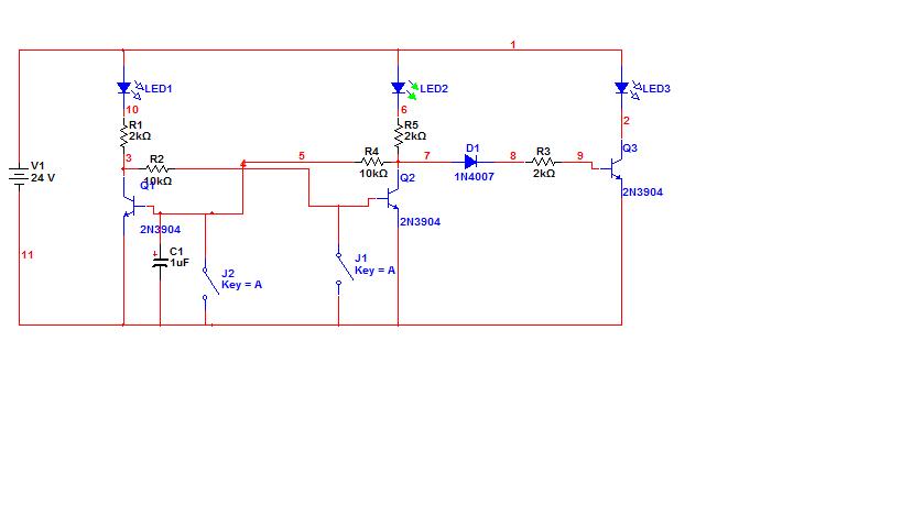求一个三极管双稳态触发电路 控制直流24v继电器 通断