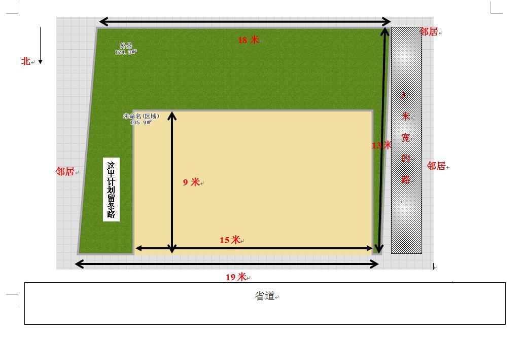 房子设计前面宽15米,进深10米,坐南朝北,一楼考虑做成门面,二楼,三楼
