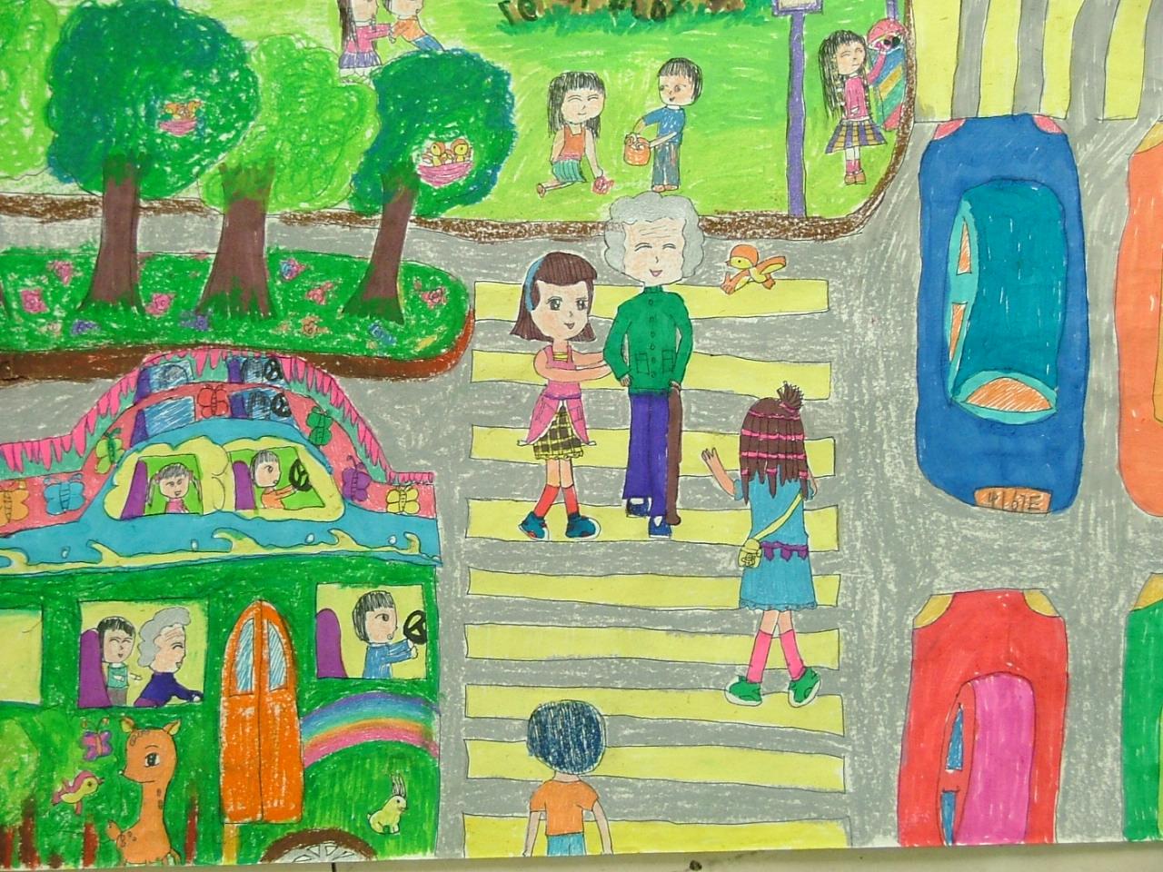 儿童交通安全手绘图