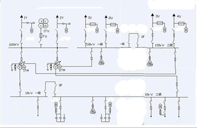 cad画220kv变电站主接线图