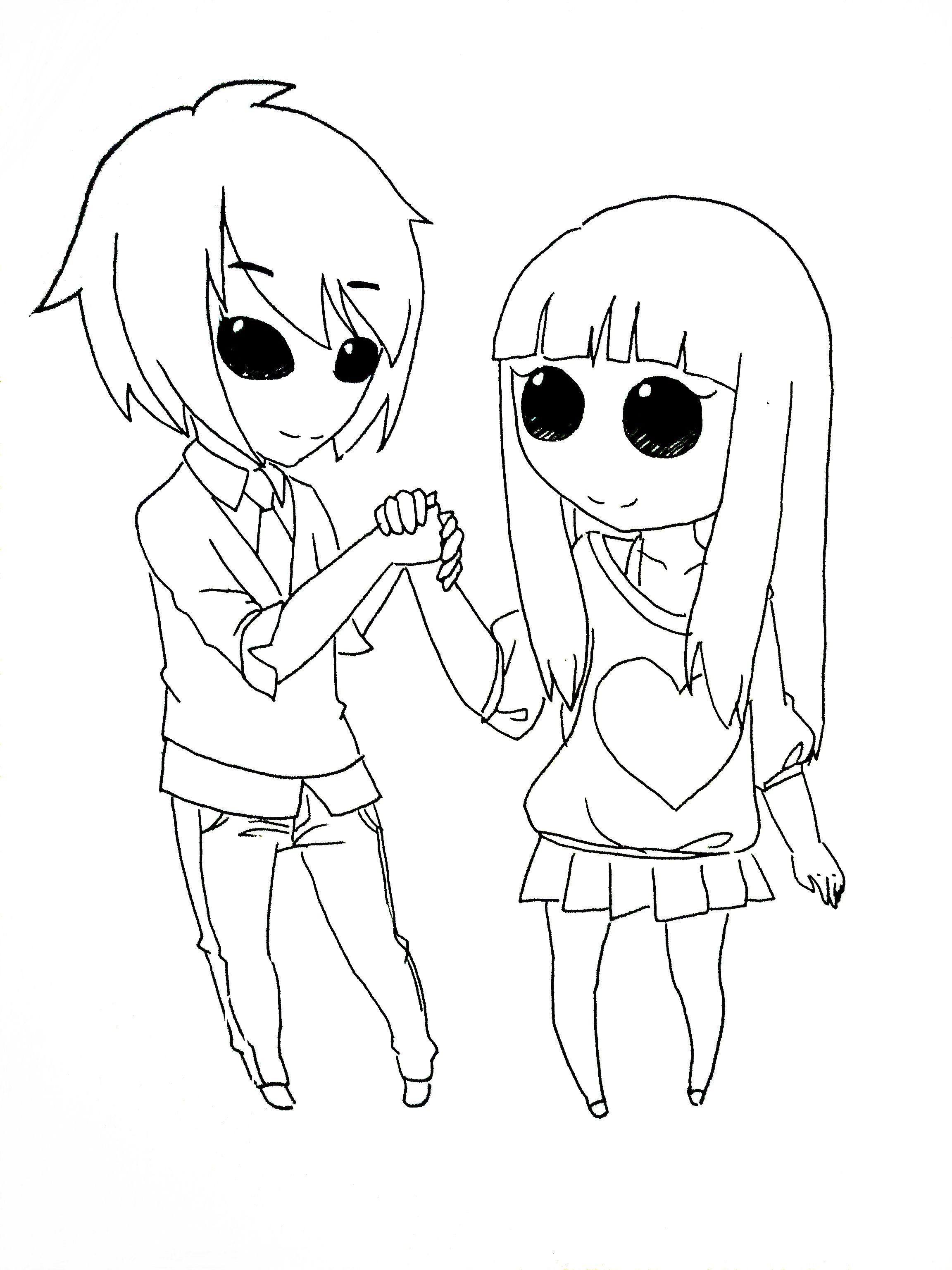求简单的手绘漫画图片,要情侣题材的,我想要临摹,送人