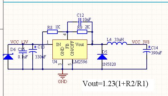 为什么lm2596adj转换出来的电压使用的时候就变低了,是按手册上做的