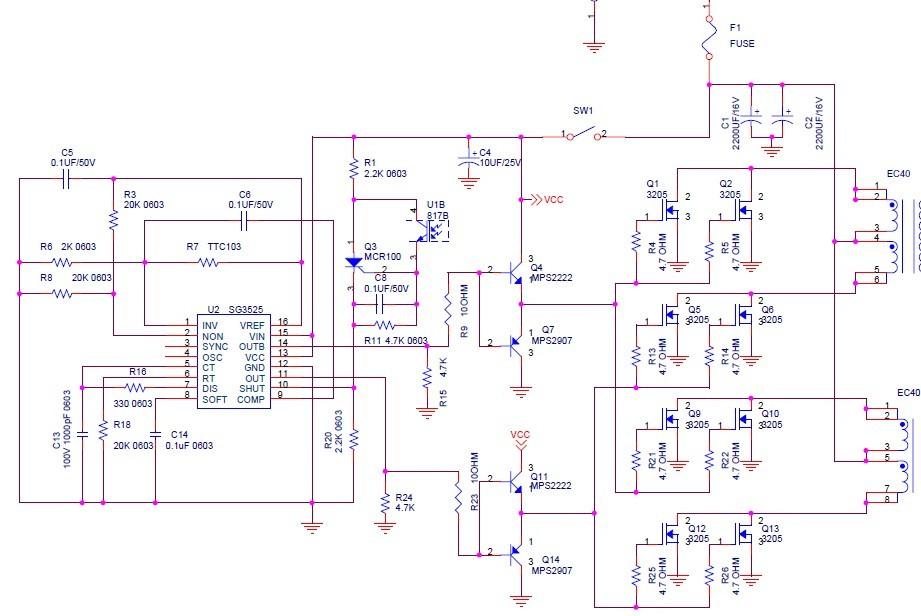 电子捕鱼机用场效应管怎样接图腾