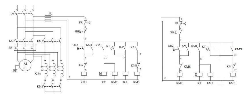 自耦降压启动这个电路,里面的中间继电器ka完全可以不要,用km3的触点