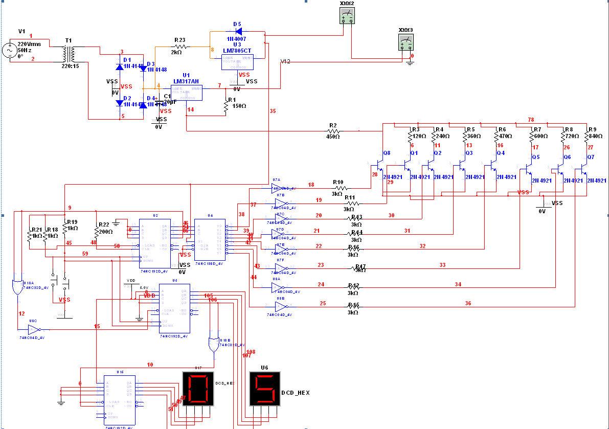 稳压直流电源(a)的pcb图,原理图在下面,求pcb图!
