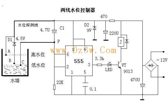 求高手简单的三相潜水泵与交流接触器的接线图,并说明