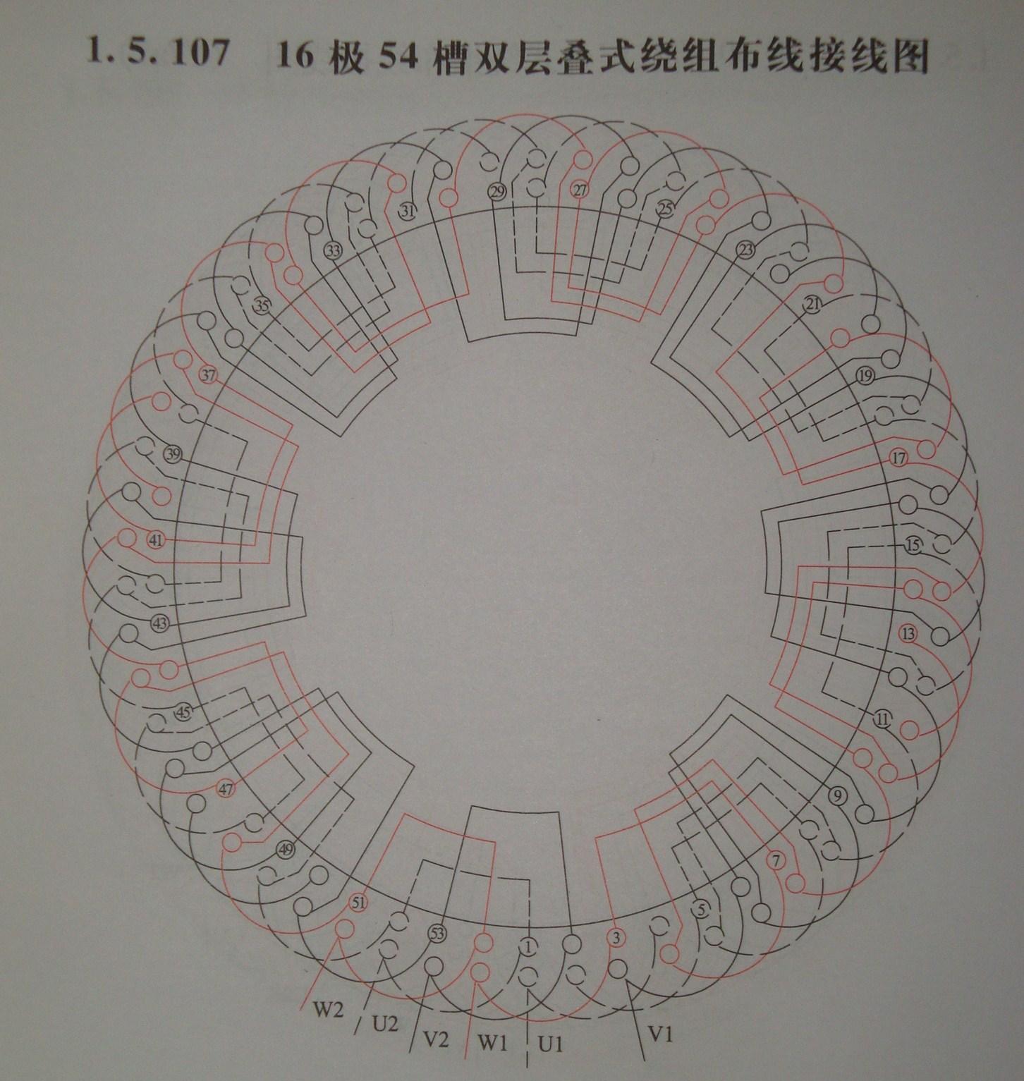 5千瓦54槽16极接线图