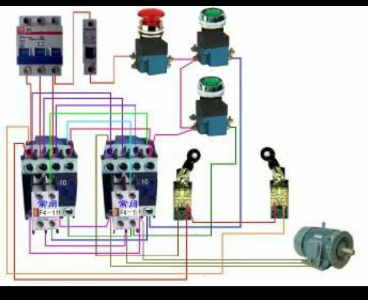 请问一下两个接触器控制三相电机正反转用限位开关来停止,是怎么接线