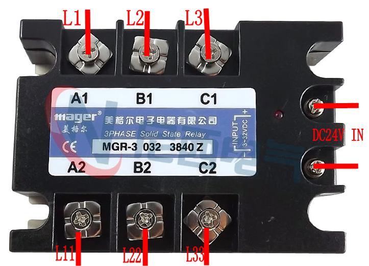 三个三角形加热管接三相固态继电器接线图图纸