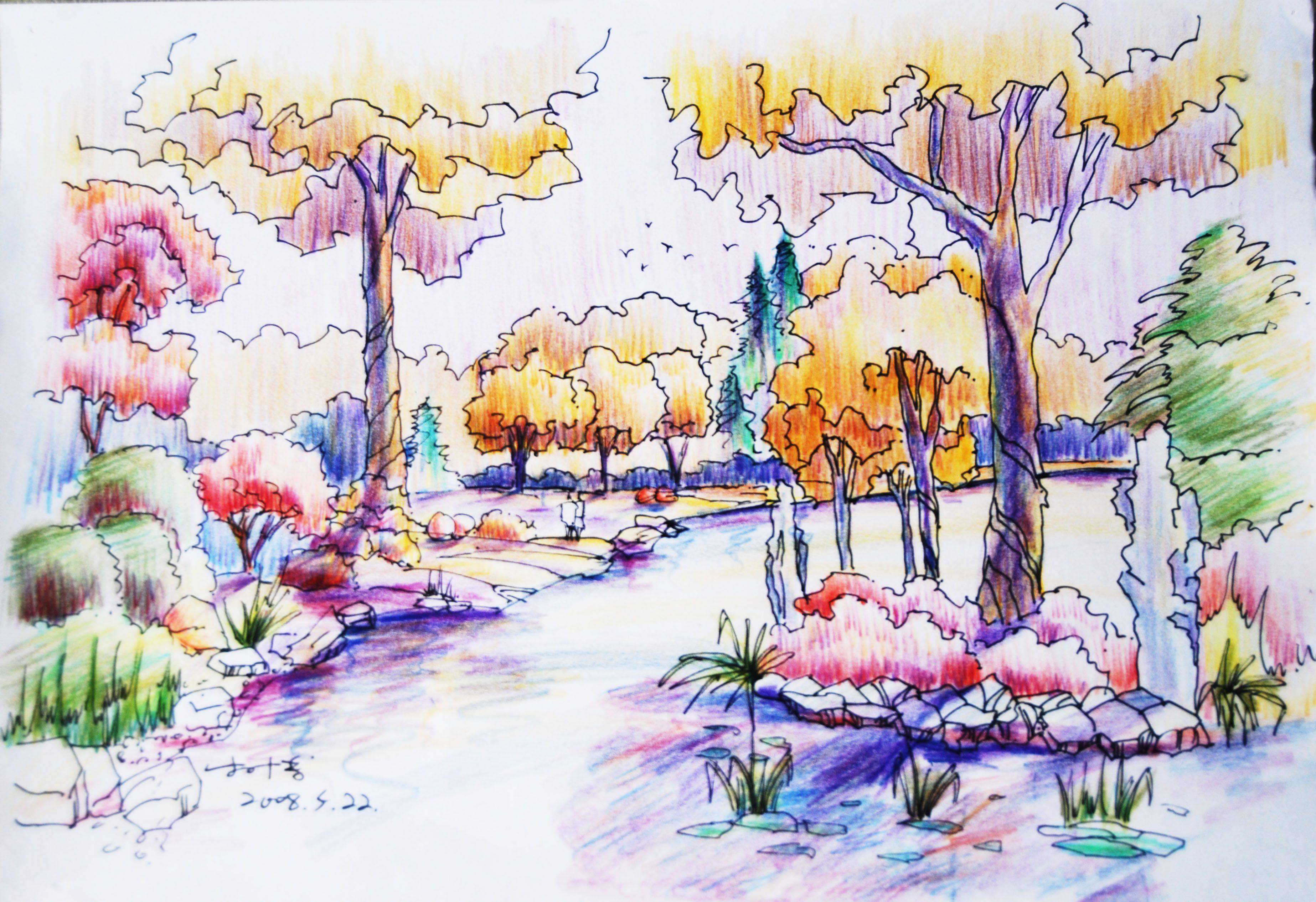 水溶性彩色铅笔风景画,最少20张_百度知道