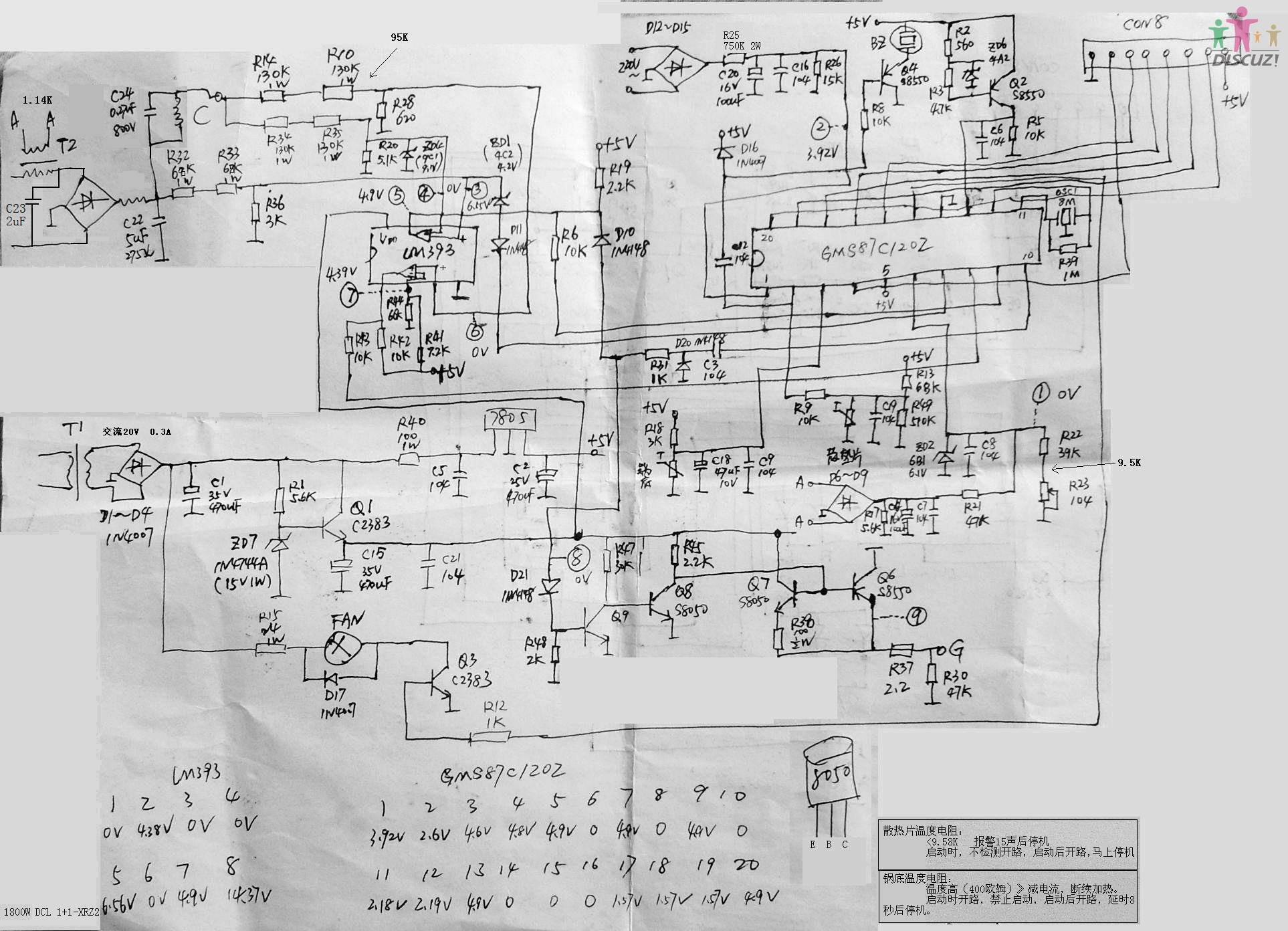 求文档: 爱庭ih-zl07电磁炉电路维修与电路图