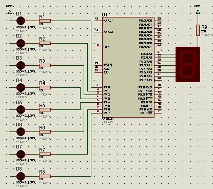 单片机循环灯控制系统硬件电路图(led灯显示.八段数码